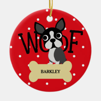 Cute Boston Terrier and Gold Bone and Red Dots Ceramic Ornament
