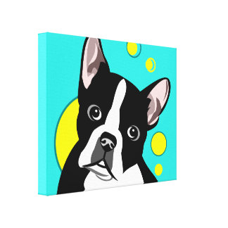 Cute Boston Terrier Canvas Art