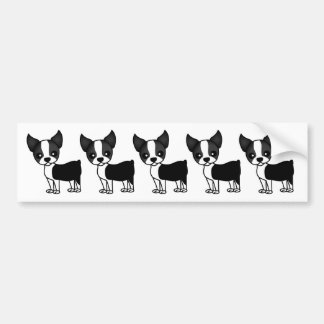 Cute Boston Terrier Cartoon Bumper Sticker