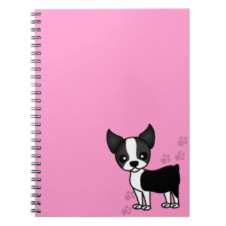 Cute Boston Terrier Cartoon Paw Prints - Pink Notebook