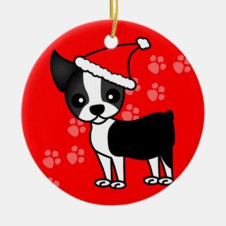 Cute Boston Terrier Cartoon Santa Hat Red Ceramic Ornament