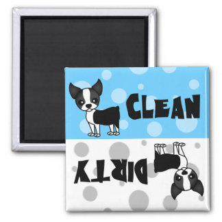 Cute Boston Terrier Clean Dirty Dishwasher Magnet