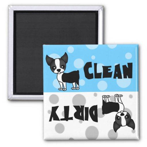 Cute Boston Terrier Clean Dirty Dishwasher Magnet
