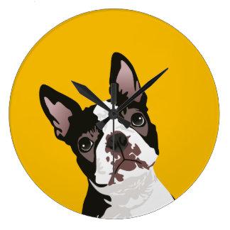 Cute Boston Terrier Dog for Boston Terrier Owner Large Clock
