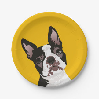 Cute Boston Terrier Dog for Boston Terrier Owner Paper Plate