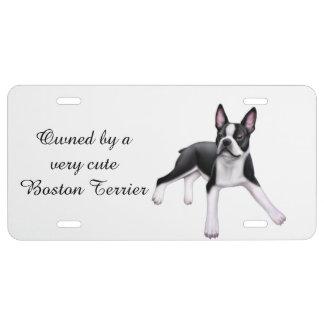 Cute Boston Terrier Dog License Plate