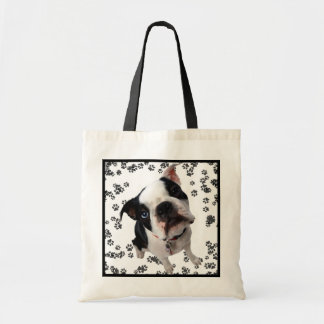 Cute boston terrier dog reusable grocery bag