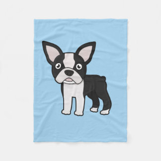 Cute Boston Terrier Fleece Blanket