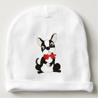 Cute Boston Terrier in Bow Tie Baby Beanie