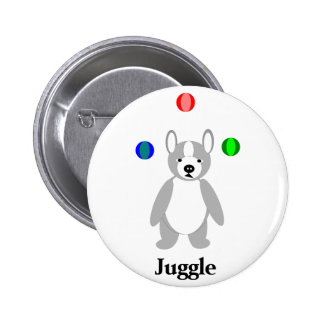 Cute Boston Terrier Juggling puppy 2 Inch Round Button