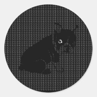 Cute Boston Terrier puppy Round Sticker