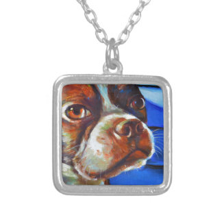 Cute Boston Terrier Silver Plated Necklace