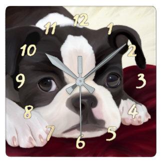 Cute Boston terrier wall clock