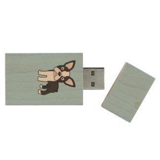 Cute Boston Terrier Wood USB Flash Drive
