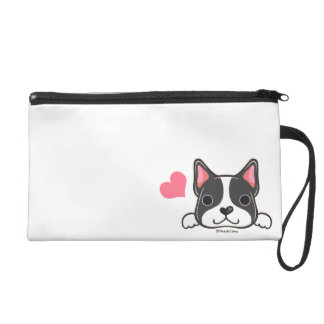 Cute Boston Terrier Wristlet