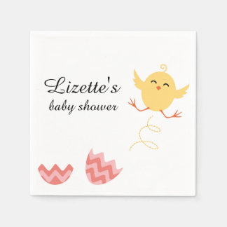 Cute Bouncing Chick Baby Shower Napkins Paper Napkins