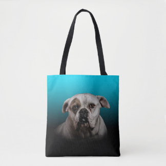 Cute Boxer Dog w Blue Black Gradient background Tote Bag