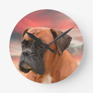 Cute Boxer Dog Water Color Oil Painting Art Clock