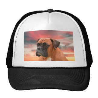 Cute Boxer Dog Water Color Oil Painting Art Trucker Hat
