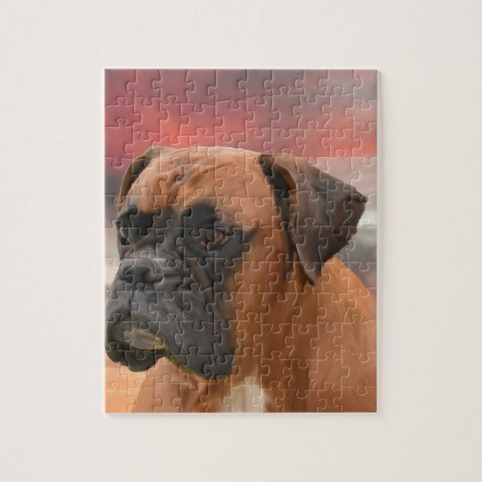 Cute Boxer Dog Water Colour Oil Painting Art Jigsaw Puzzle