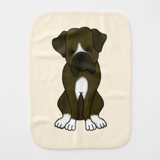 Cute Boxer Puppy Baby Burp Cloth