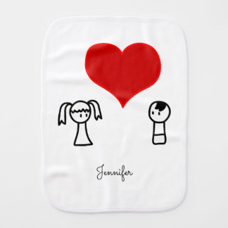 Cute boy and girl in love doodle name baby baby burp cloths