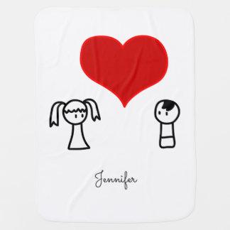 Cute boy and girl in love doodle name baby stroller blanket