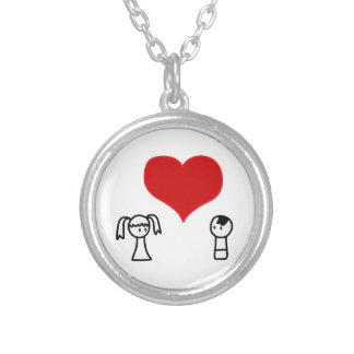 Cute boy and girl in love doodle silver plated necklace