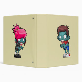 Cute Boy and Girl Zombie Illustration 3 Ring Binders