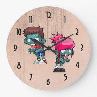 Cute Boy and Girl Zombie Illustration Clock