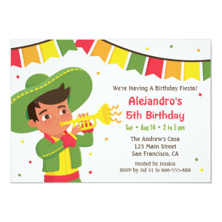 Cute Boy and Trumpet Mexican Fiesta Birthday Party Card