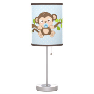 Cute Boy Baby Monkey Blue Polka Dots Table Lamp