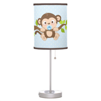Cute Boy Baby Monkey Blue Polka Dots Table Lamp