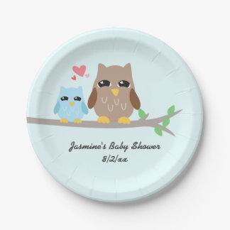 Cute Boy Baby Shower Owl Paper Plate