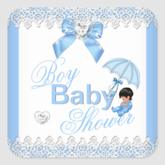 Cute Boy Blue White Baby Shower Square Sticker