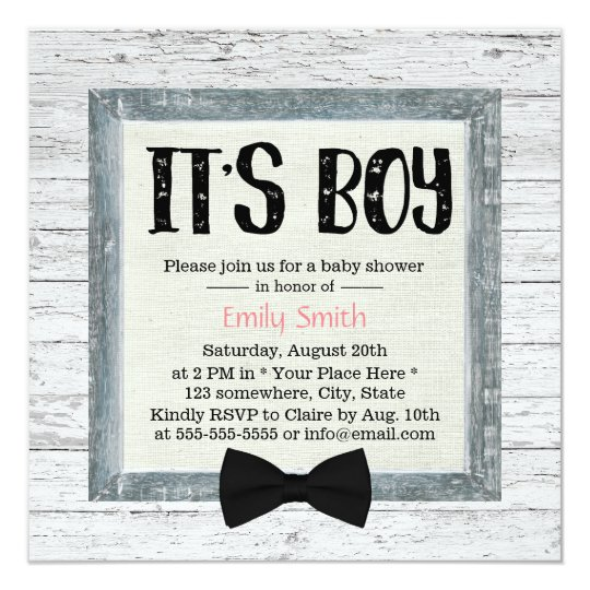 Cute Boy Bow Tie Rustic Wood Baby Shower Card