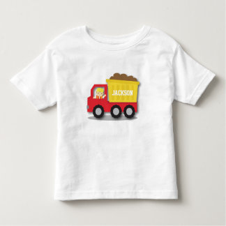 Cute Boy Builder Red Construction Dump Truck Toddler T-shirt