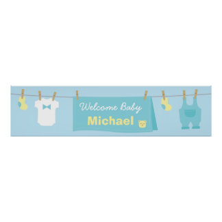 Cute Boy Clothes Baby Shower Welcome Banner Poster