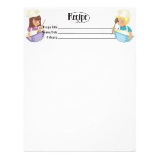 Cute boy girl kid friendly recipe letterhead