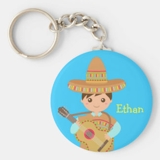 Cute boy Mexican Sombrero Hat Guitar Fiesta Basic Round Button Keychain