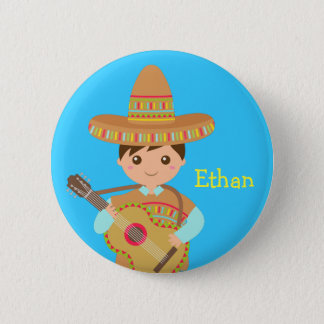 Cute boy Mexican Sombrero Hat Guitar Fiesta Button