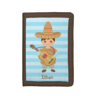 Cute boy Mexican Sombrero Hat Guitar Fiesta Trifold Wallet
