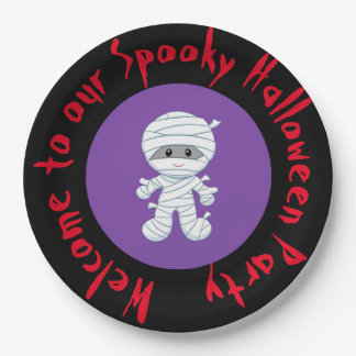 Cute Boy Mummy Halloween Costume Party Paper Plate