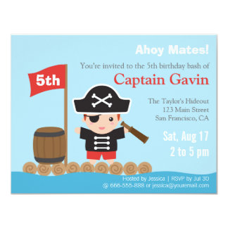 Cute Boy Pirate Birthday Party 4.25x5.5 Paper Invitation Card