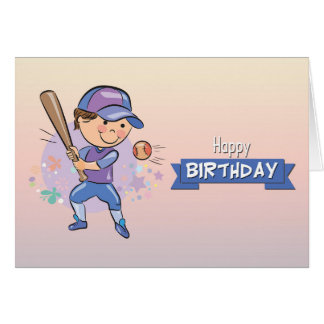 Cute Boy Playing Baseball Birthday Card