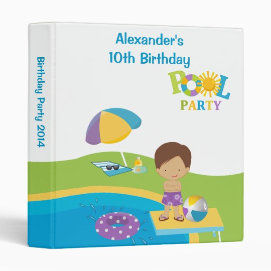 Cute Boy Pool Party Birthday Photo Album 3 Ring Binders