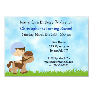 Cute Boy Riding a Brown Horse Birthday Invitation