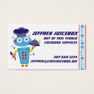 Cute boy robot chef food service catering cooking business card