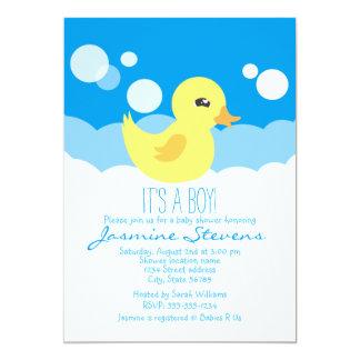 "Cute Boy Rubber Ducky Baby Shower 5"" X 7"" Invitation Card"