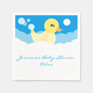 Cute Boy Rubber Ducky Baby Shower Paper Napkin